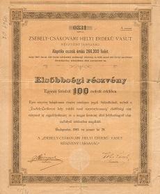 A Zsebely-Csákóvári Helyi Érdekű Vasút Rt. elsőbbségi részvénye 100 osztrák értékű forintról