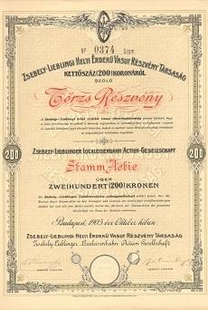 A Zsebely-Lieblingi Helyi Érdekű Vasút Rt. törzsrészvénye 200 koronáról