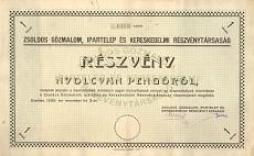A Zsoldos Gőzmalom, Ipartelep és Kereskedelmi Rt. részvénye 80 pengőről