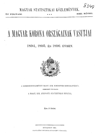 A Magyar Korona országainak vasutjai az 1894., 1895. és 1896. évben