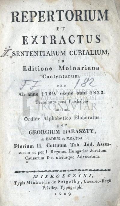 Repertorium et extractus sententiarum curialium ...