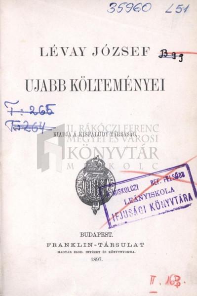 Lévay József ujabb költeményei