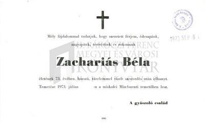Zachariás Béla gyászjelentése