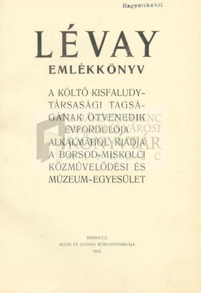 Lévay emlékkönyv