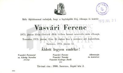 Vasvári Ferenc gyászjelentése