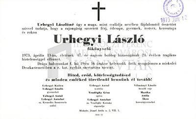 Urhegyi László gyászjelentése