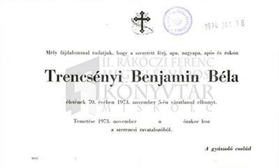 Trencsényi Benjamin Béla gyászjelentése