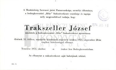 Trakszeller József gyászjelentése