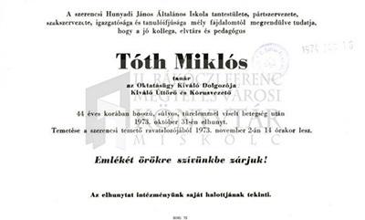 Tóth Miklós gyászjelentése