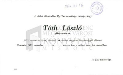 Tóth László gyászjelentése