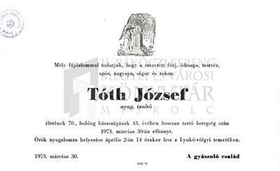Tóth József gyászjelentése