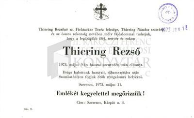 Thiering Rezső gyászjelentése