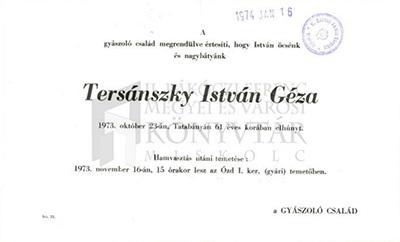 Tersánszky István Géza gyászjelentése