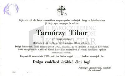 Tarnóczy Tibor gyászjelentése