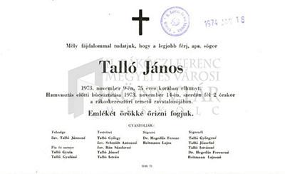 Talló János gyászjelentése