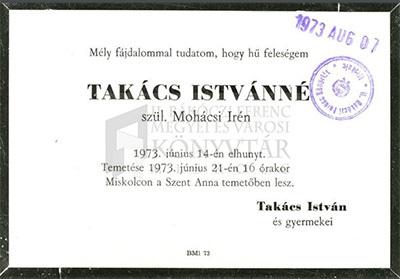 Takács Istvánné gyászjelentése