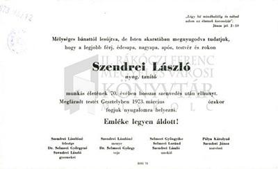 Szendrei László gyászjelentése