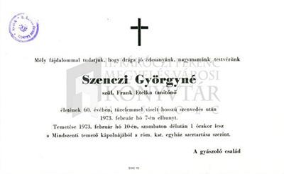 Szenczi Györgyné gyászjelentése