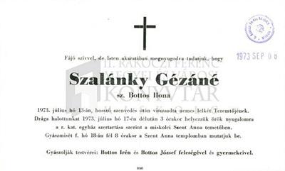 Szalánky Gézáné gyászjelentése