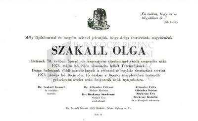Szakall Olga gyászjelentése