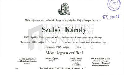 Szabó Károly gyászjelentése