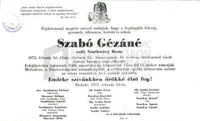Szabó Gézáné gyászjelentése
