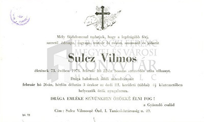 Sulcz Vilmos gyászjelentése