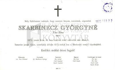 Skarbinecz Györgyné gyászjelentése