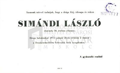 Simándi László gyászjelentése