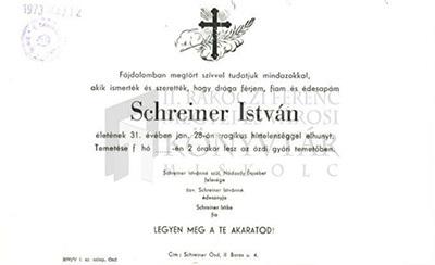 Schreiner István gyászjelentése