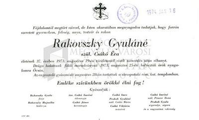 Rakovszky Gyuláné gyászjelentése