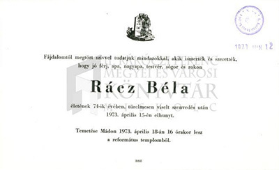 Rácz Béla gyászjelentése