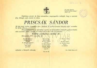 Priscsák Sándor gyászjelentése