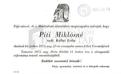 Piti Miklósné gyászjelentése