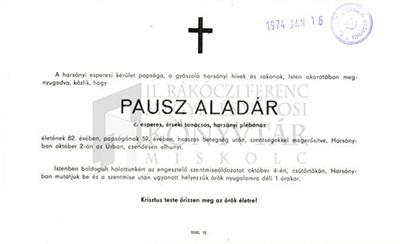 Pausz Aladár gyászjelentése