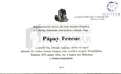 Pápay Ferenc gyászjelentése