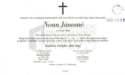 Nonn Jánosné gyászjelentése