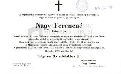 Nagy Ferencné gyászjelentése