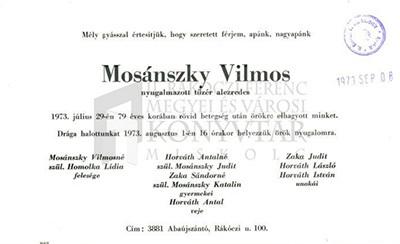 Mosánszky Vilmos gyászjelentése