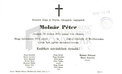 Molnár Péter gyászjelentése