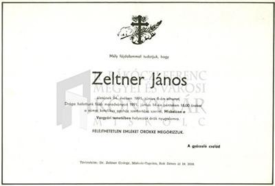 Zeltner János gyászjelentése
