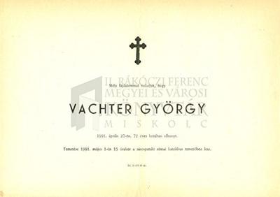 Vachter György gyászjelentése
