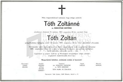 Toth Zoltán és felesége gyászjelentése