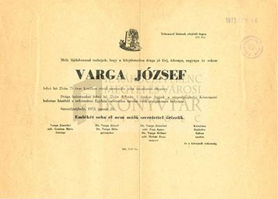 Varga József gyászjelentése