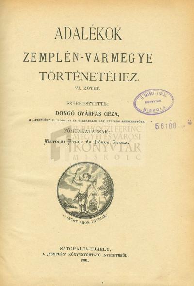 Adalékok Zemplén Vármegye Történetéhez