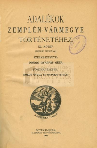 Adalékok Zemplén-Vármegye [Zemplén vármegye] történetéhez