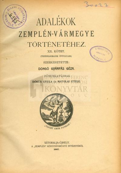 Adalékok Zemplén-vármegye történetéhez