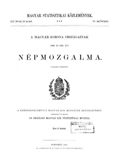 A Magyar Korona országainak 1890. és 1891. évi népmozgalma