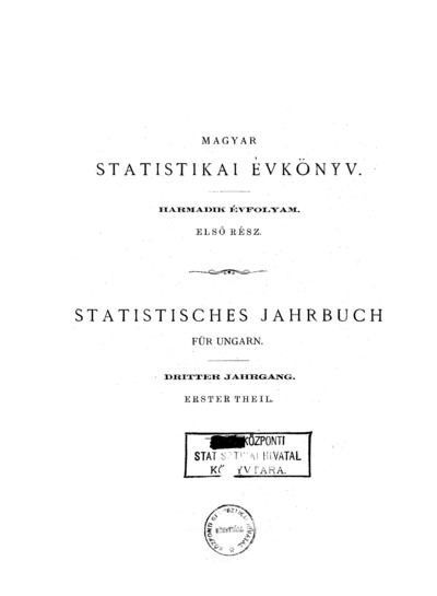 Magyar statistikai évkönyv. 3. évfolyam