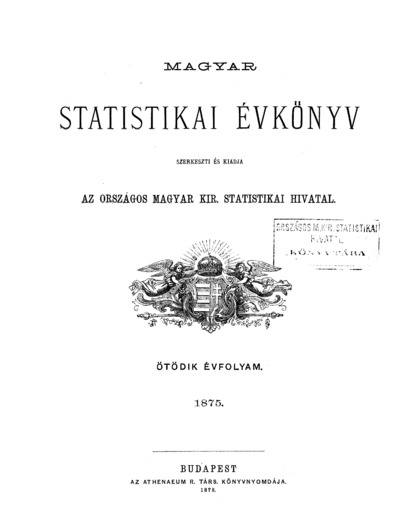 Magyar statistikai évkönyv. 5. évfolyam